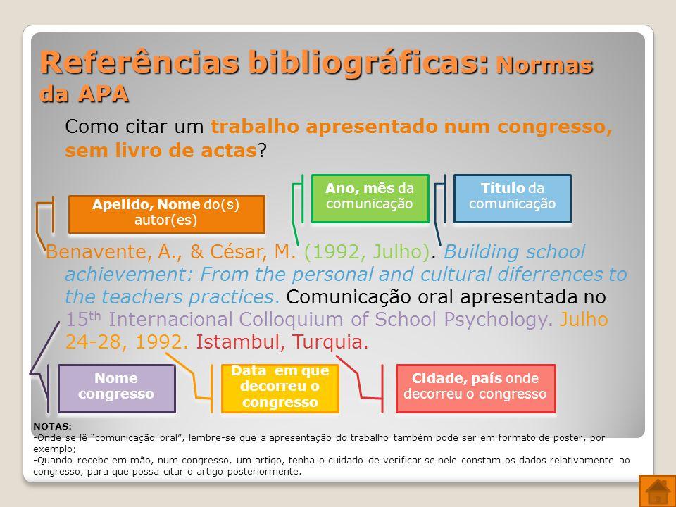 Referências bibliográficas: Normas da APA