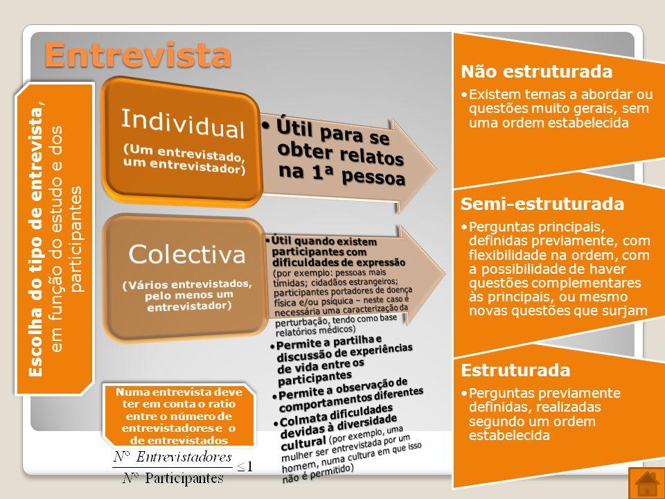 Entrevista Individual Colectiva Não estruturada