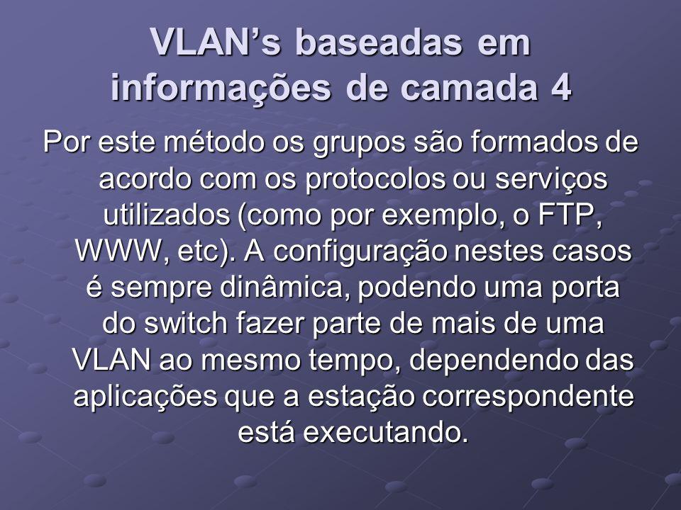 VLAN's baseadas em informações de camada 4