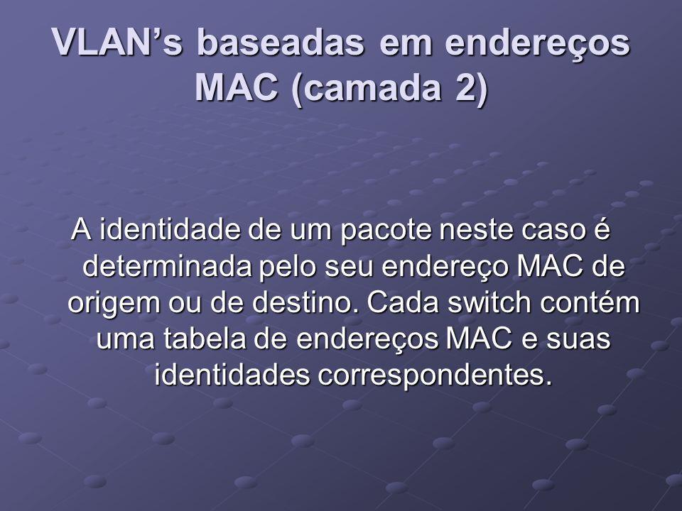 VLAN's baseadas em endereços MAC (camada 2)