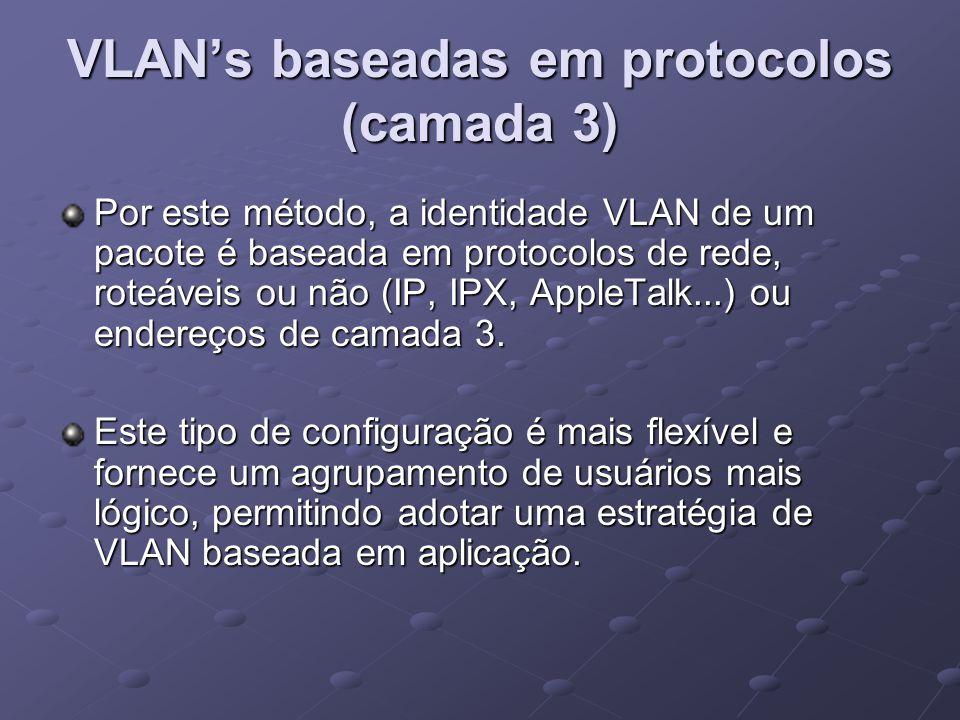 VLAN's baseadas em protocolos (camada 3)