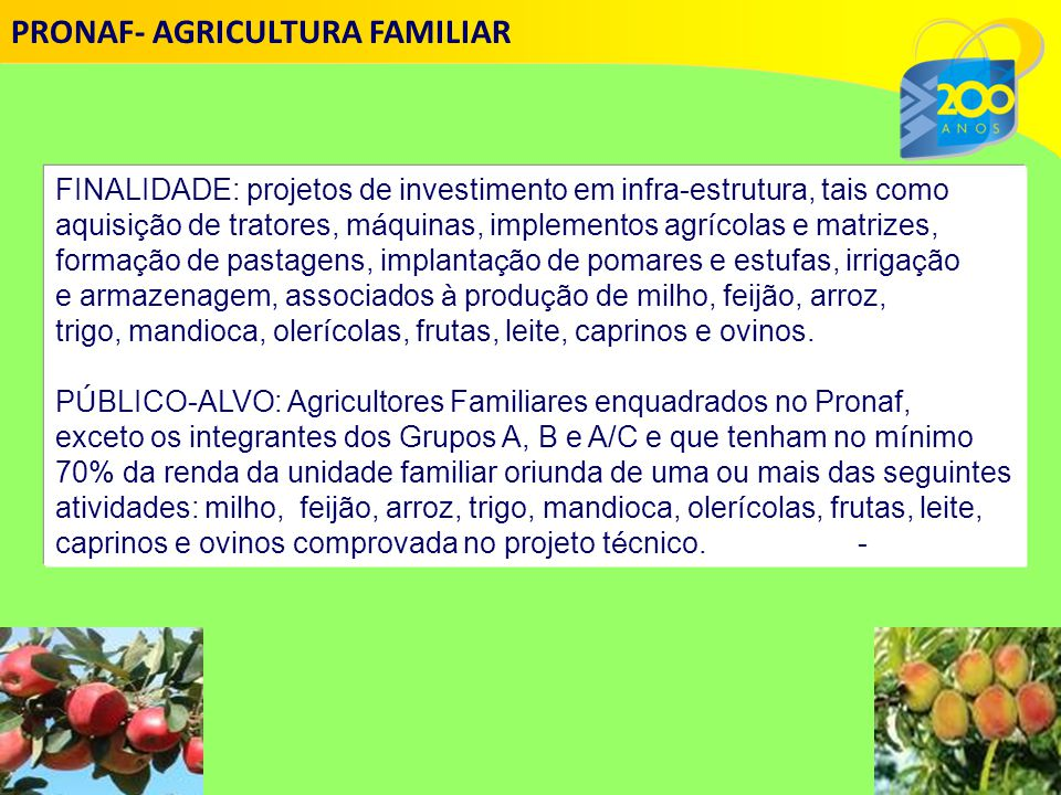 PRONAF- AGRICULTURA FAMILIAR