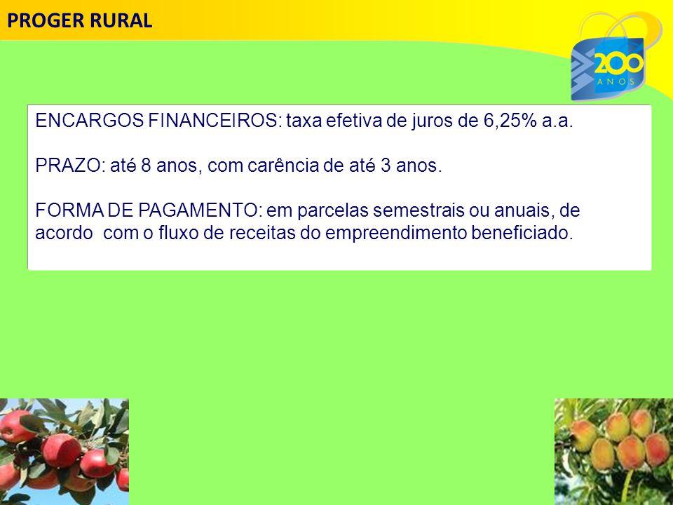 PROGER RURAL ENCARGOS FINANCEIROS: taxa efetiva de juros de 6,25% a.a.