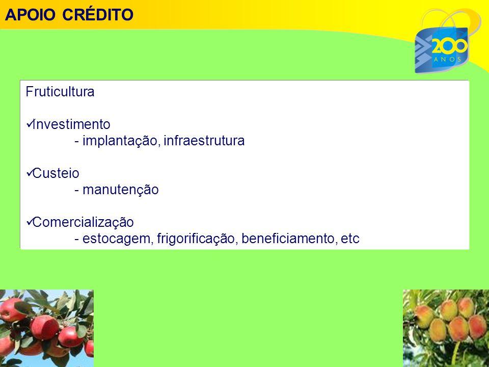 APOIO CRÉDITO Fruticultura Investimento - implantação, infraestrutura