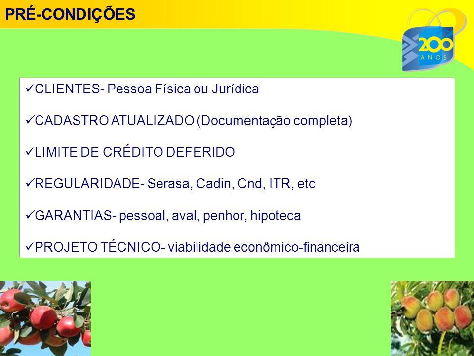 PRÉ-CONDIÇÕES CLIENTES- Pessoa Física ou Jurídica