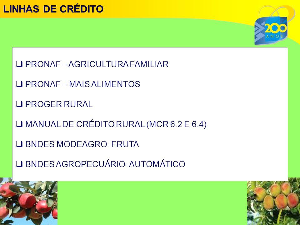 LINHAS DE CRÉDITO PRONAF – AGRICULTURA FAMILIAR