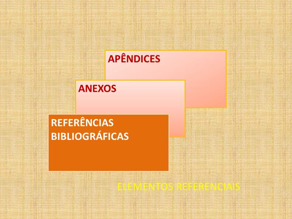 APÊNDICES ANEXOS REFERÊNCIAS BIBLIOGRÁFICAS ELEMENTOS REFERENCIAIS