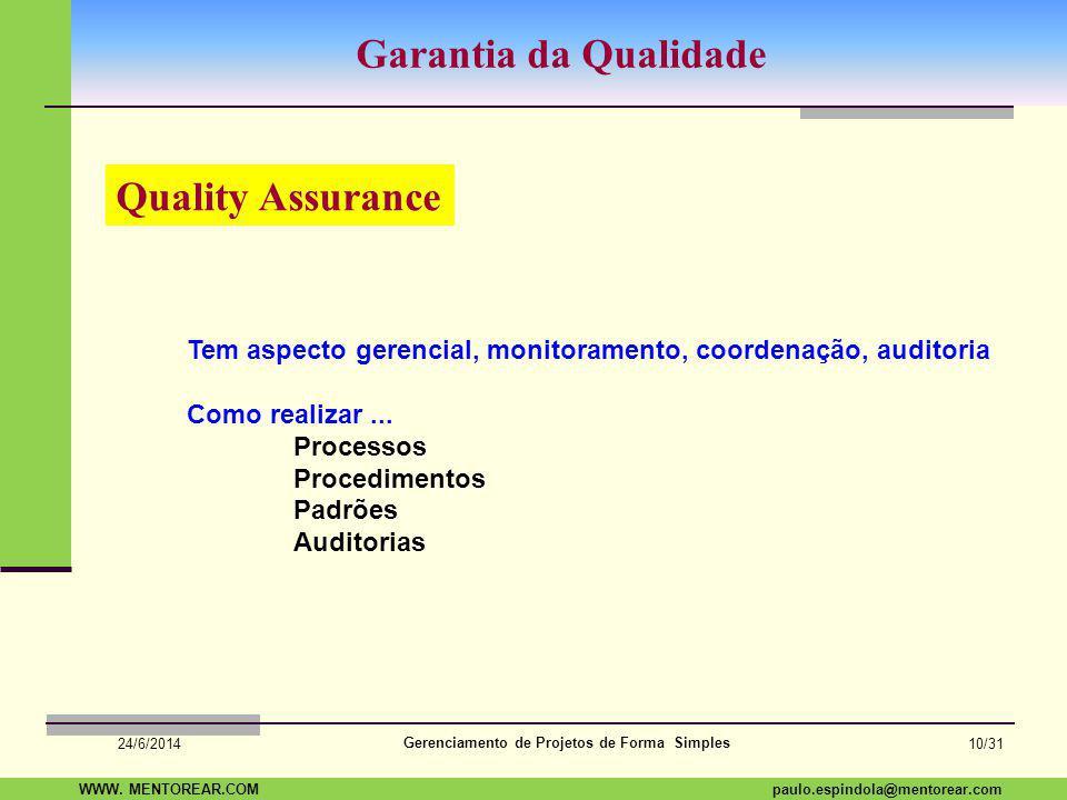 Garantia da Qualidade Quality Assurance