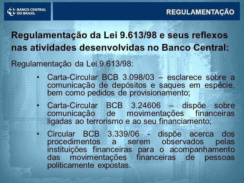 REGULAMENTAÇÃO Regulamentação da Lei 9.613/98 e seus reflexos nas atividades desenvolvidas no Banco Central: