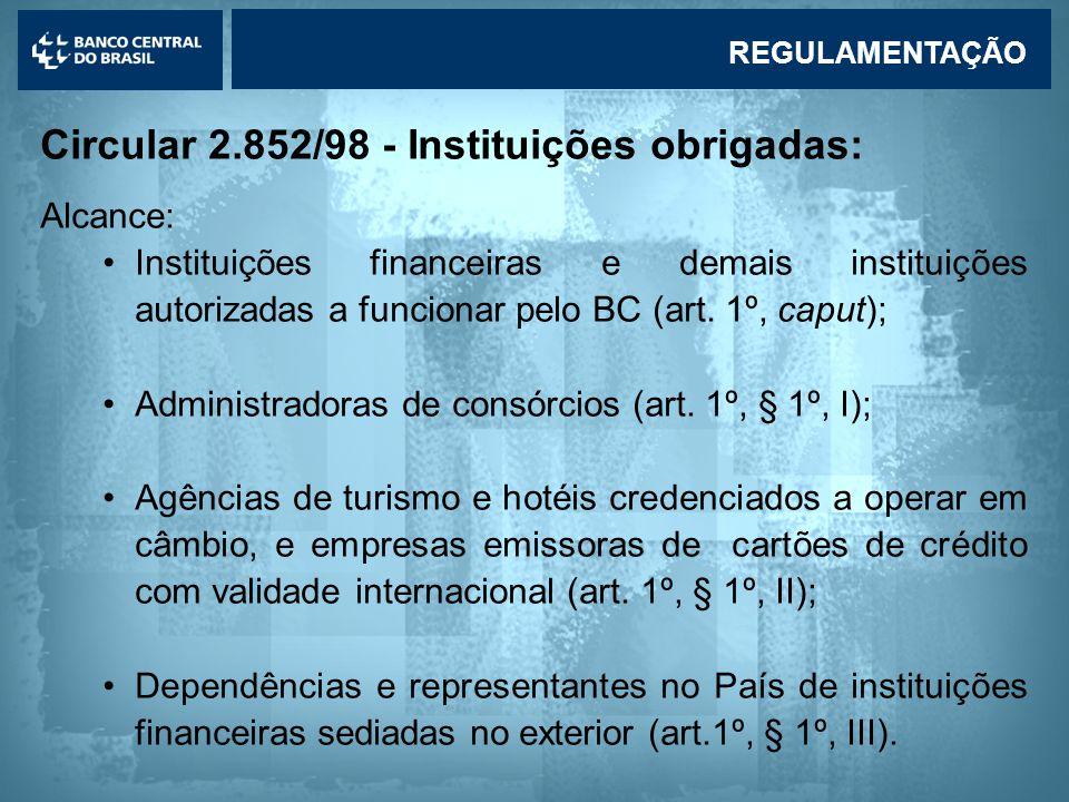 Circular 2.852/98 - Instituições obrigadas: