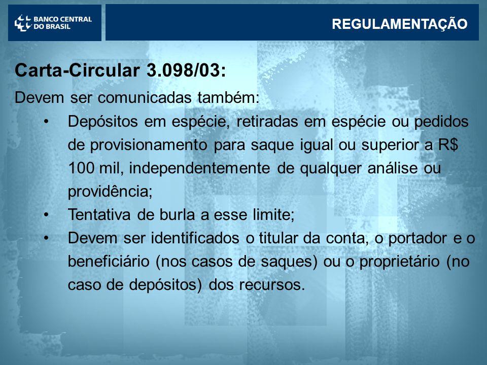 Carta-Circular 3.098/03: Devem ser comunicadas também: