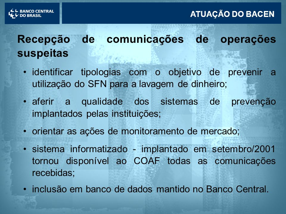 Recepção de comunicações de operações suspeitas
