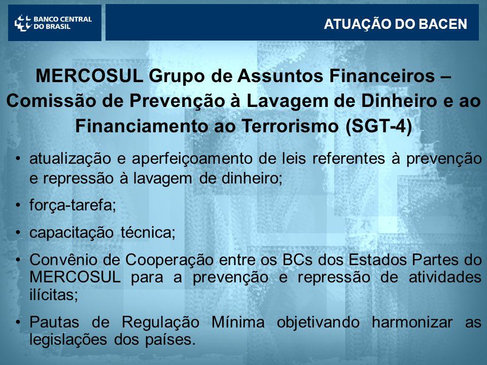 ATUAÇÃO DO BACEN MERCOSUL Grupo de Assuntos Financeiros – Comissão de Prevenção à Lavagem de Dinheiro e ao Financiamento ao Terrorismo (SGT-4)