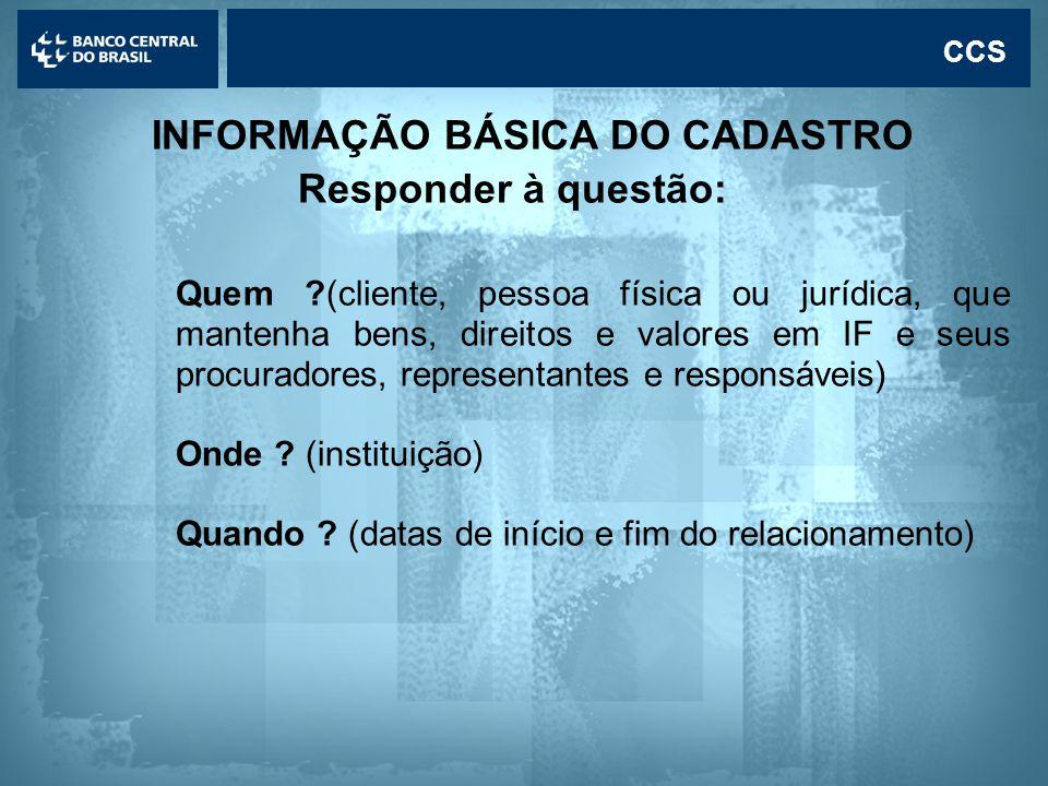 INFORMAÇÃO BÁSICA DO CADASTRO