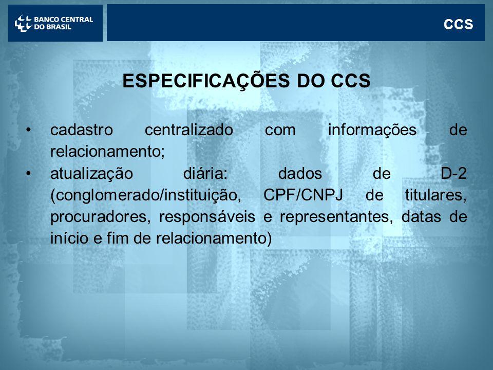 CCS ESPECIFICAÇÕES DO CCS. cadastro centralizado com informações de relacionamento;