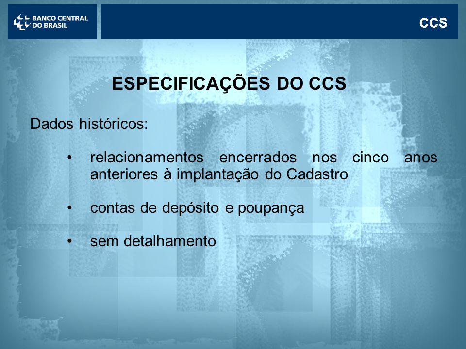 ESPECIFICAÇÕES DO CCS Dados históricos:
