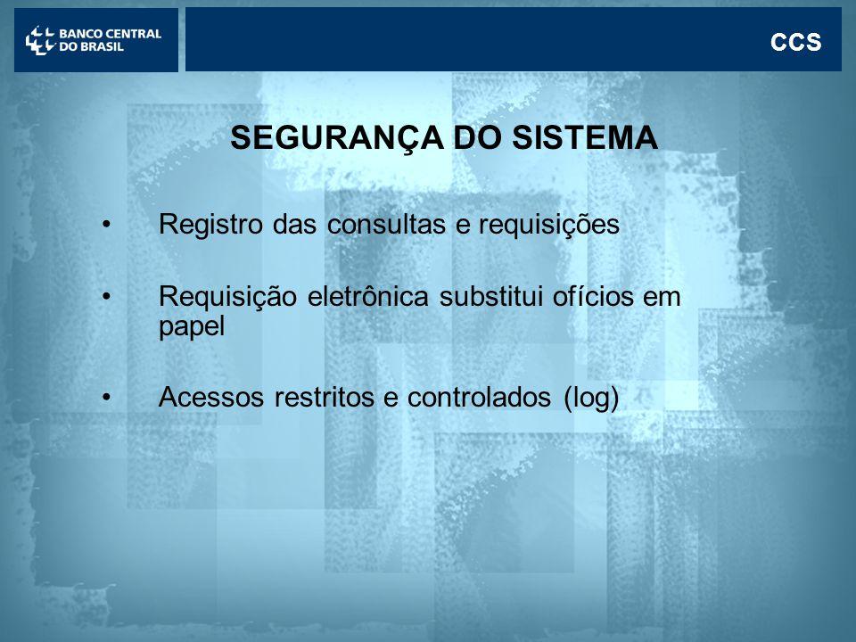 SEGURANÇA DO SISTEMA Registro das consultas e requisições