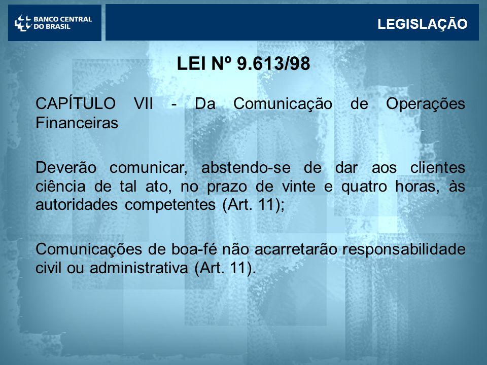 CAPÍTULO VII - Da Comunicação de Operações Financeiras