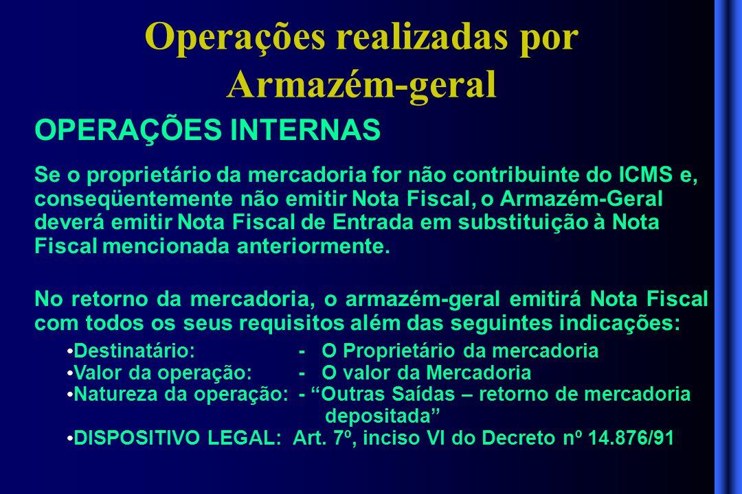 Operações realizadas por Armazém-geral