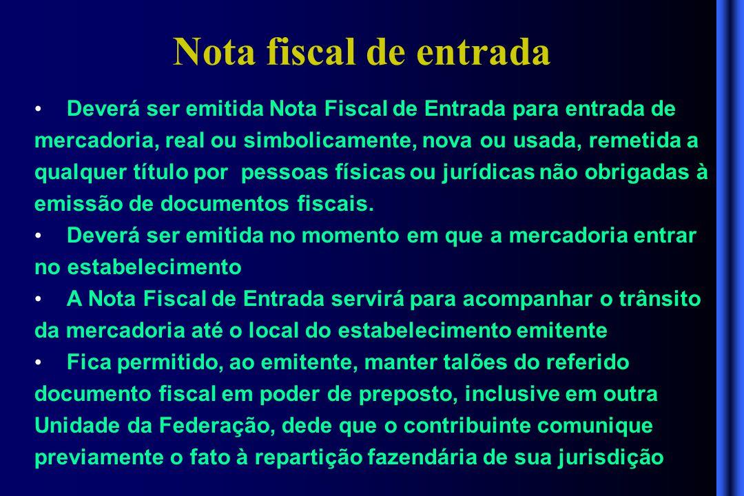 Nota fiscal de entrada