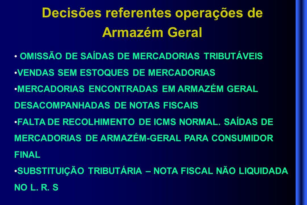 Decisões referentes operações de Armazém Geral