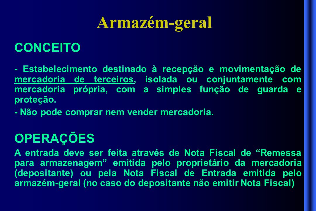 Armazém-geral CONCEITO OPERAÇÕES
