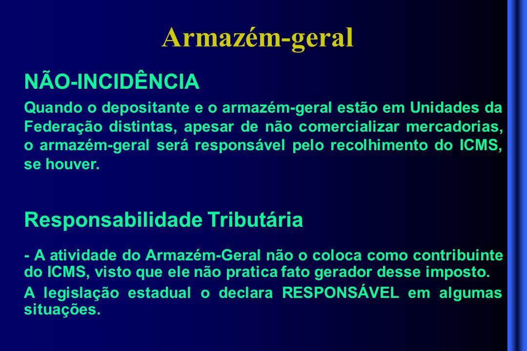 Armazém-geral NÃO-INCIDÊNCIA Responsabilidade Tributária