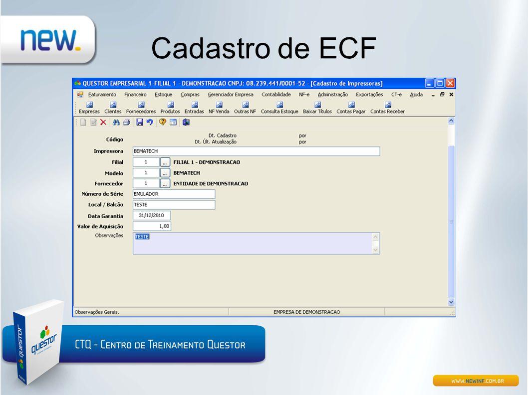 Cadastro de ECF
