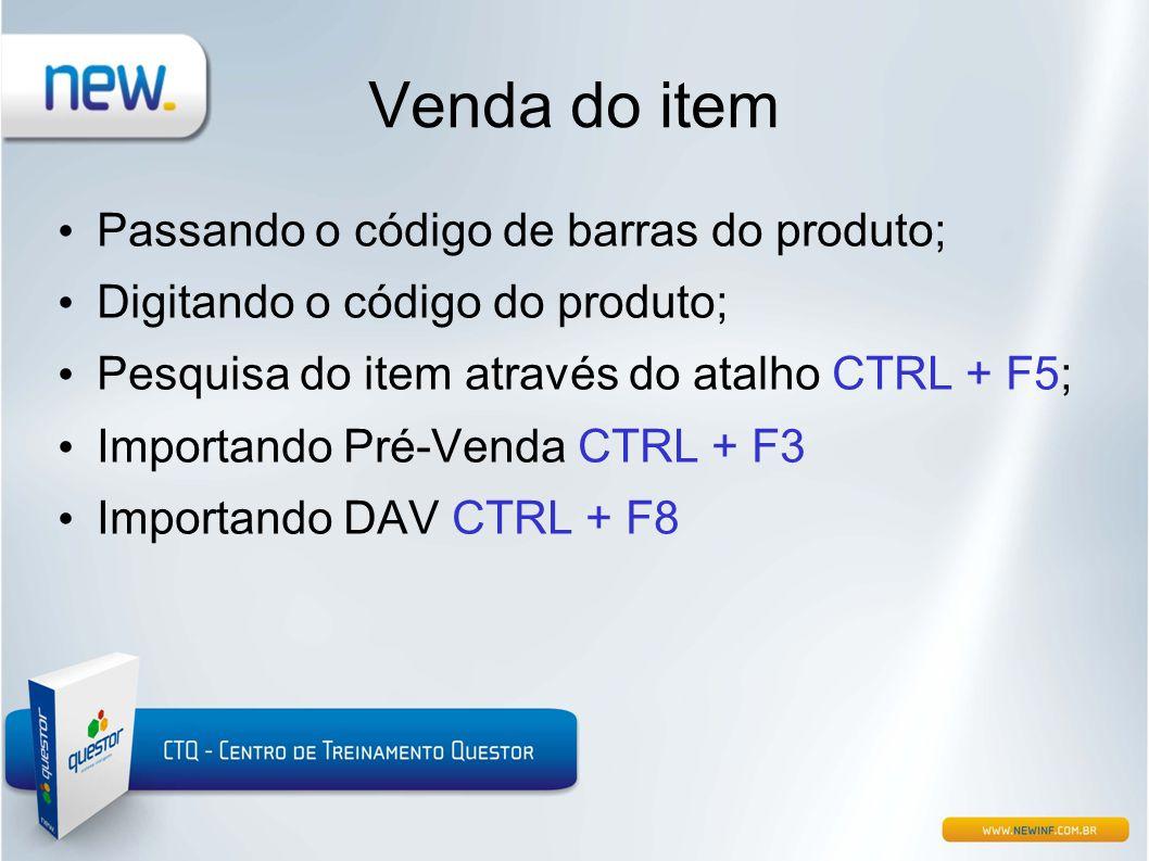 Venda do item Passando o código de barras do produto;