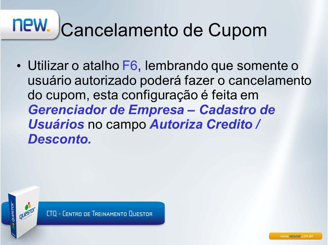 Cancelamento de Cupom
