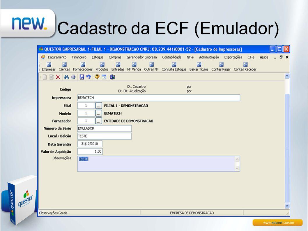 Cadastro da ECF (Emulador)