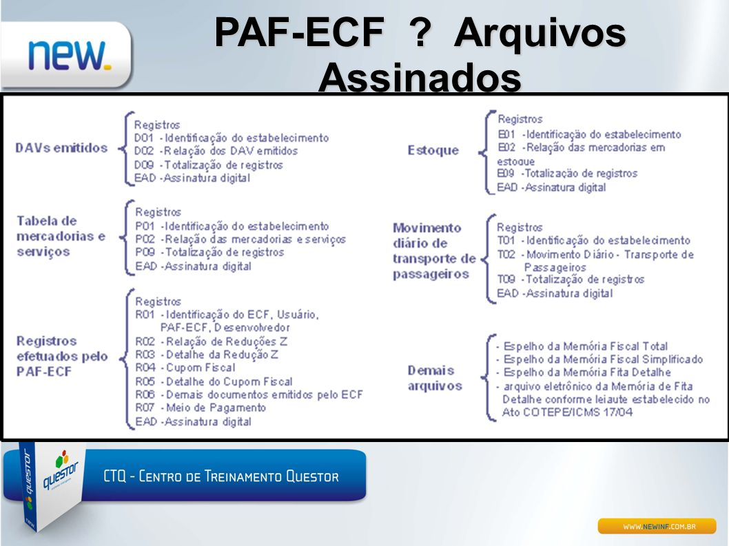 PAF-ECF Arquivos Assinados