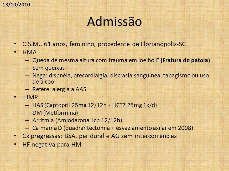 Admissão C.S.M., 61 anos, feminino, procedente de Florianópolis-SC HMA