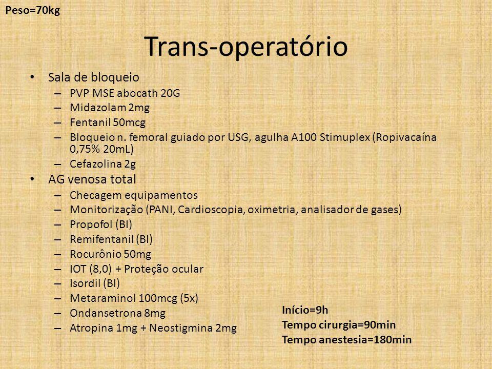 Trans-operatório Sala de bloqueio AG venosa total Peso=70kg