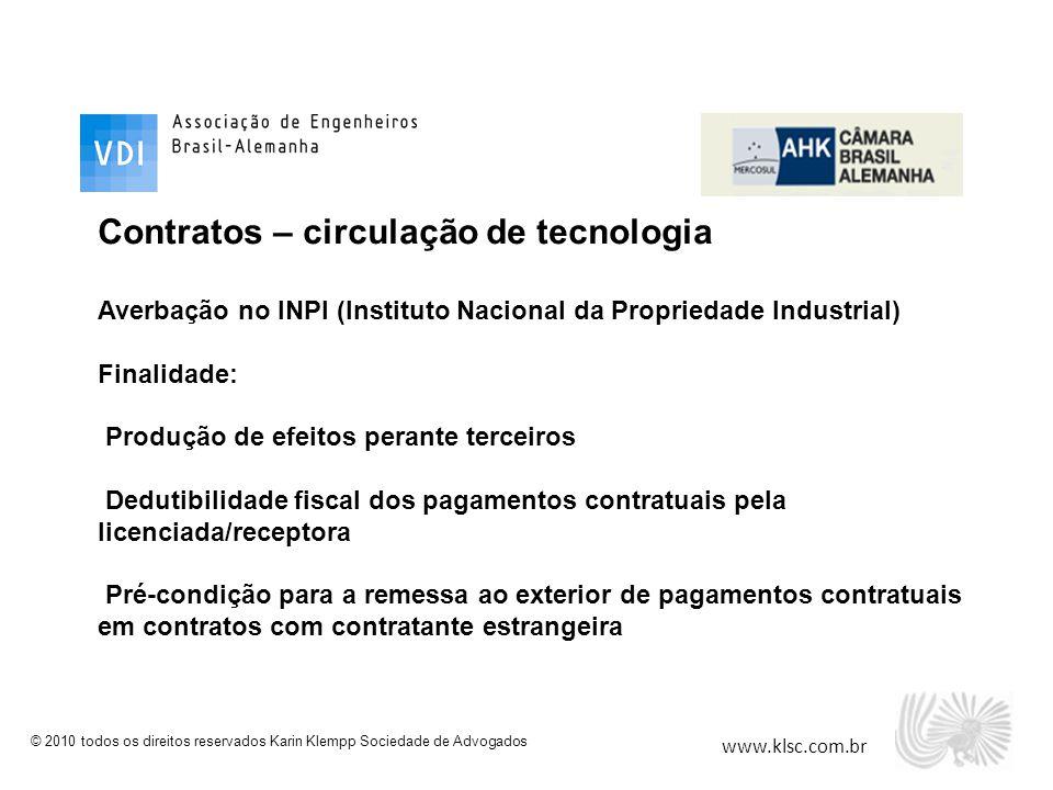 Contratos – circulação de tecnologia