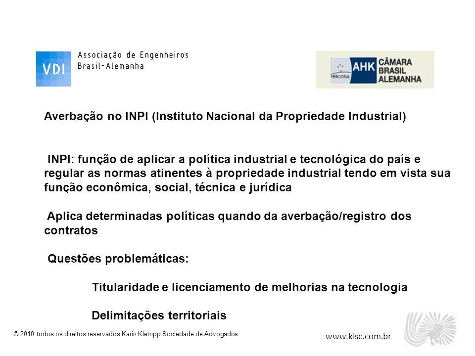 Averbação no INPI (Instituto Nacional da Propriedade Industrial)