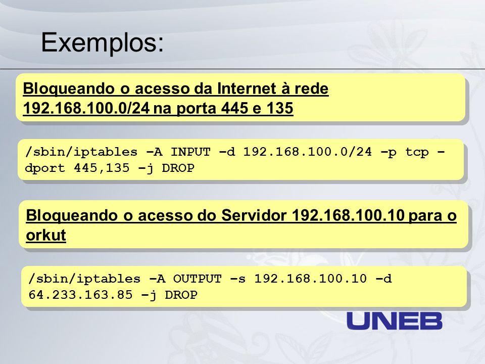 Exemplos: Bloqueando o acesso da Internet à rede 192.168.100.0/24 na porta 445 e 135.