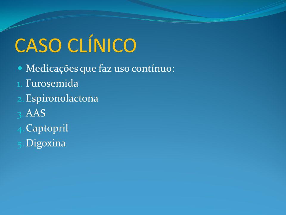 CASO CLÍNICO Medicações que faz uso contínuo: Furosemida