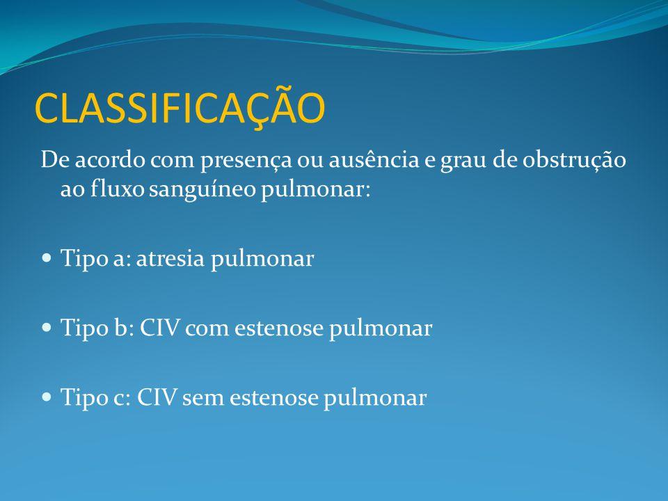 CLASSIFICAÇÃO De acordo com presença ou ausência e grau de obstrução ao fluxo sanguíneo pulmonar: Tipo a: atresia pulmonar.