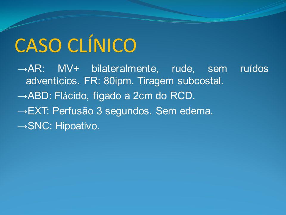 CASO CLÍNICO →AR: MV+ bilateralmente, rude, sem ruídos adventícios. FR: 80ipm. Tiragem subcostal. →ABD: Flácido, fígado a 2cm do RCD.