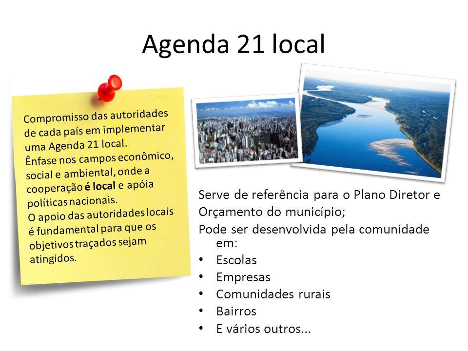 Agenda 21 local Serve de referência para o Plano Diretor e