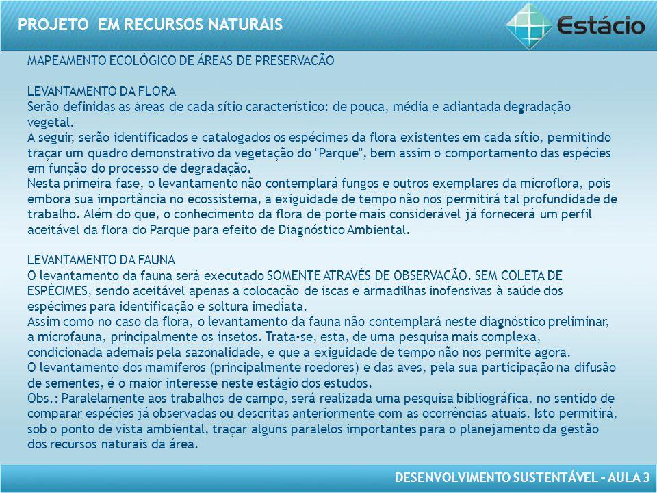 MAPEAMENTO ECOLÓGICO DE ÁREAS DE PRESERVAÇÃO
