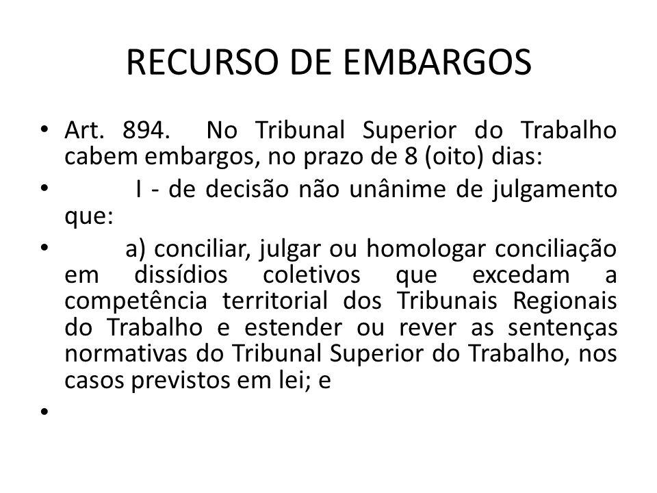 RECURSO DE EMBARGOS Art. 894. No Tribunal Superior do Trabalho cabem embargos, no prazo de 8 (oito) dias: