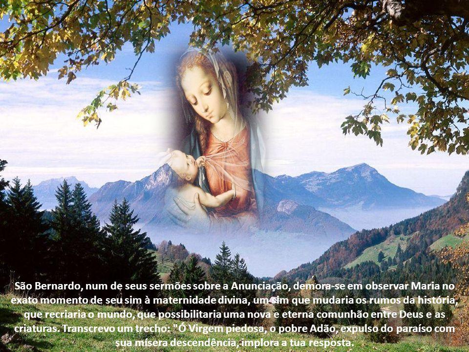 São Bernardo, num de seus sermões sobre a Anunciação, demora-se em observar Maria no exato momento de seu sim à maternidade divina, um sim que mudaria os rumos da história, que recriaria o mundo, que possibilitaria uma nova e eterna comunhão entre Deus e as criaturas.
