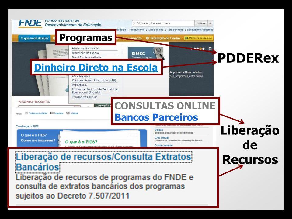 PDDERex Liberação de Recursos Programas Dinheiro Direto na Escola