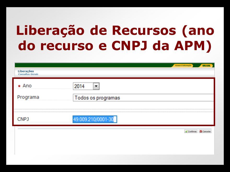 Liberação de Recursos (ano do recurso e CNPJ da APM)
