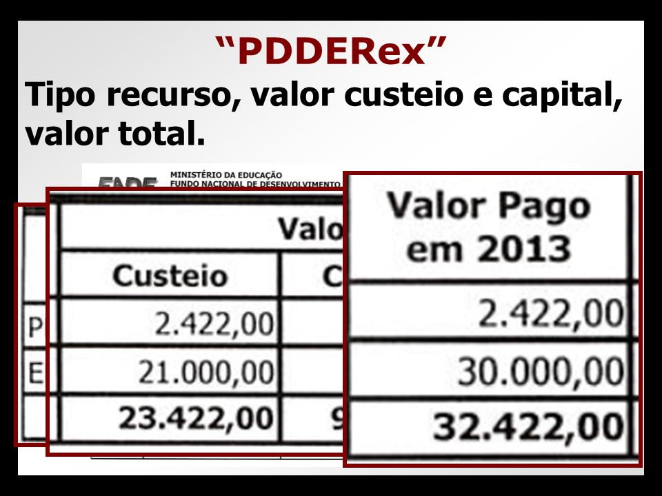 PDDERex Tipo recurso, valor custeio e capital, valor total.