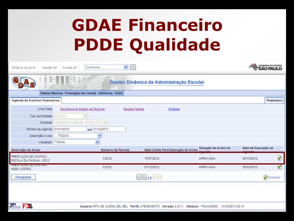GDAE Financeiro PDDE Qualidade