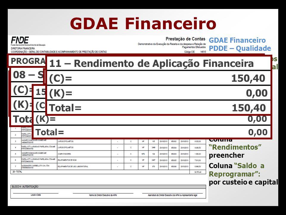 GDAE Financeiro 11 – Rendimento de Aplicação Financeira