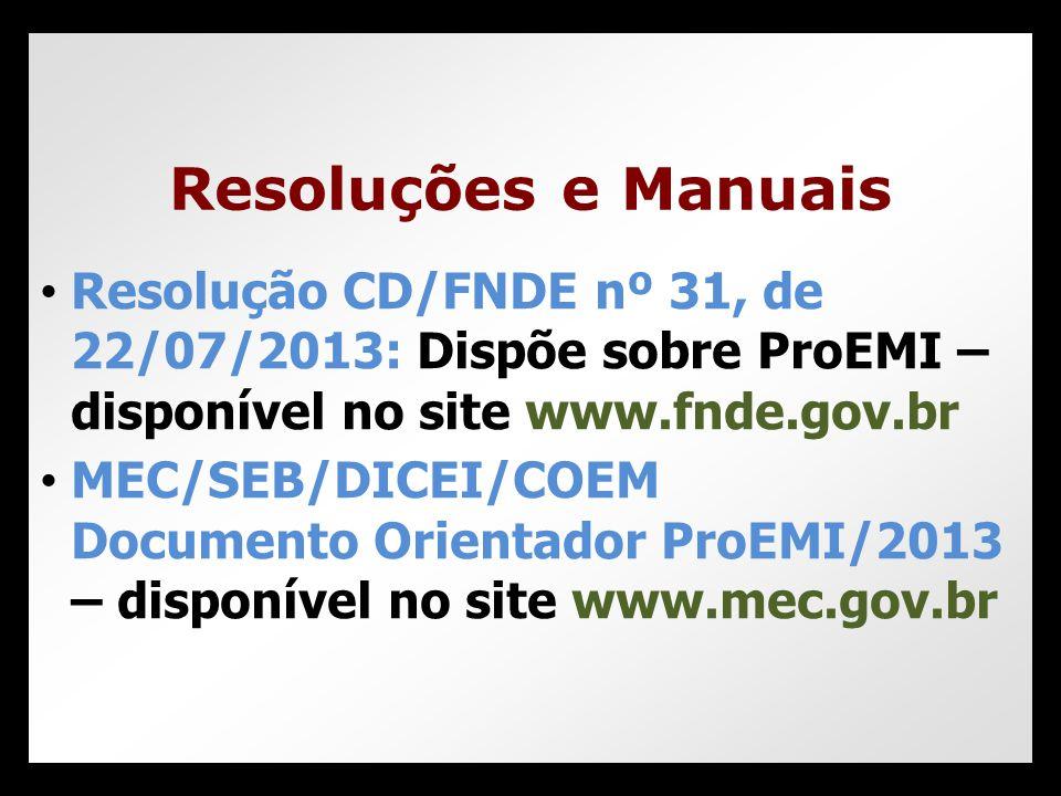 Resoluções e Manuais Resolução CD/FNDE nº 31, de 22/07/2013: Dispõe sobre ProEMI – disponível no site www.fnde.gov.br.